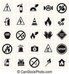 セット, 禁止, 安全, 背景, サイン, 正方形