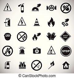 セット, 禁止, 安全, 背景, サイン, 白