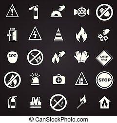 セット, 禁止, 黒い背景, サイン, 安全