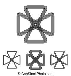 セット, 科学, デザイン, ロゴ, 線, ループ