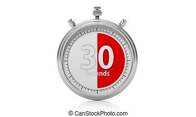 セット, 秒, 30, 隔離された, クロノメーター, 白, 銀