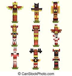 セット, 種族, トーテム, シンボル, 伝統的である, 文化, ベクトル, ポーランド人, 刻まれた, マスク, イラスト, 宗教, アイドル, ネイティブ