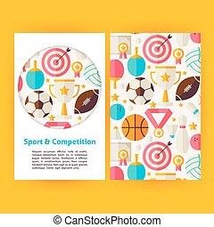 セット, 競争, ベクトル, テンプレート, 旗, スポーツ