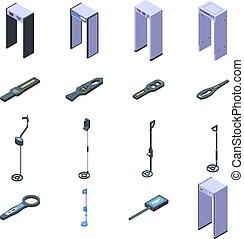 セット, 等大, 探知器, アイコン, スタイル, 金属