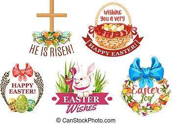 セット, 紋章, うさぎ, 卵, 花, イースター, 漫画