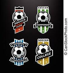 セット, 紋章, フットボール, 暗い, バックグラウンド。, サッカー, ロゴ