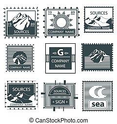 セット, 紋章, 型, ラベル, スタンプ, 山