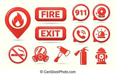 セット, 緊急事態, アイコン, 火, set., icons., シンボル, ベクトル, 安全