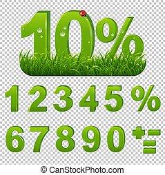 セット, 緑の背景, percents, 草, 透明