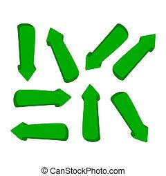 セット, 緑, 矢, 3d