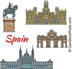 セット, 線である, マドリッド, 旅行, スペイン語, ランドマーク, アイコン