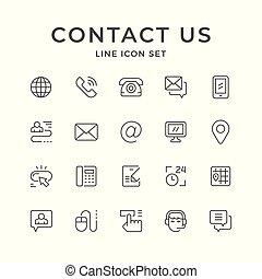 セット, 線, アイコン, の, 私達に連絡しなさい