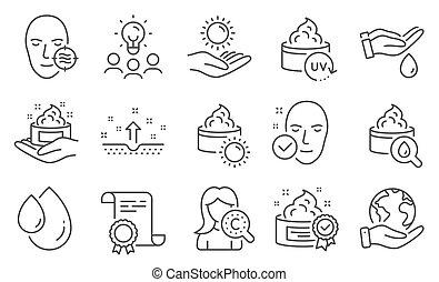 セット, 美しさ, ベクトル, 皮膚, protection., 問題, 健康, アイコン, 太陽, そのような物