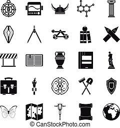 セット, 考古学, スタイル, 単純なアイコン