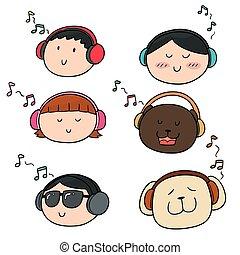 セット, 聞くこと, 人々, ベクトル, 音楽, 動物