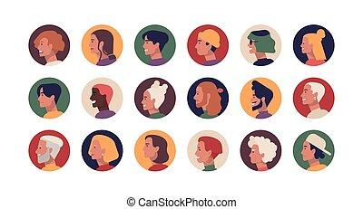 セット, 肖像画, 年配, hairstyles., avatars., 面白い, 頭, 若い, 様々, プロフィール, 平ら, 男性, コレクション, 束, 人々, 漫画, 女性, illustration., ラウンド, ベクトル, 流行, ∥あるいは∥, faces.