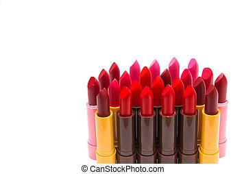 セット, 背景を彩色しなさい, 白, 口紅, 赤