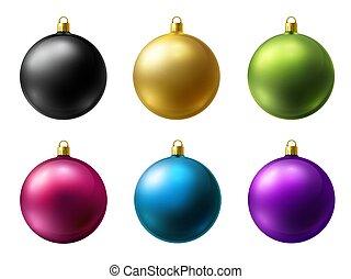 セット, 背景, マット, ベクトル, 現実的, クリスマス, 有色人種, 白, ボール