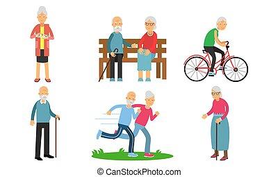 セット, 背景, 女, 活動, ベクトル, イラスト, 年配, 隔離された, 別, 白, 人