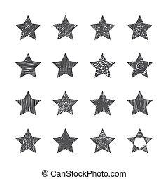 セット, 背景, 手, 星, 引かれる, 白