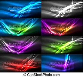 セット, 背景, 抽象的, ネオンライト, 白熱, 滑らかである, 波, 暗い
