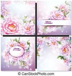 セット, 背景, 花