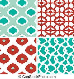 セット, 背景, seamless, パターン, ikat, 緑, 幾何学的, 赤