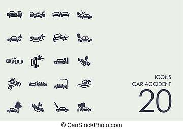 セット, 自動車, アイコン, 事故