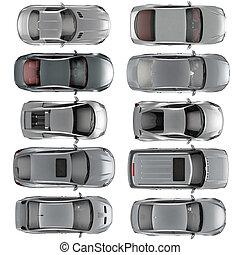 セット, 自動車, 上, 背景, 白, 光景