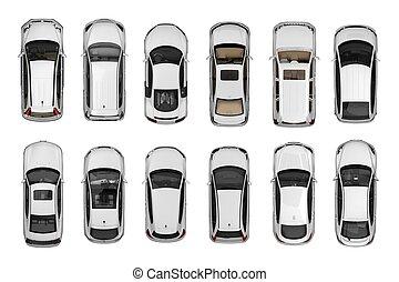 セット, 自動車, 上, 隔離された, 白, 光景