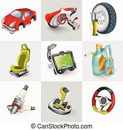 セット, 自動車, 付属品, イラスト, ベクトル, アイコン