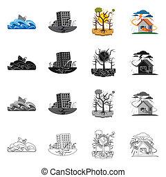 セット, 自然災害, シンボル, オブジェクト, web., 隔離された, シンボル。, 危険, 株