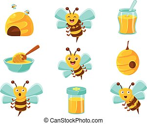 セット, 自然, カラフルである, 蜂, 黄色, 蜂蜜, ミツバチの巣, ジャー, 漫画, illustrations.