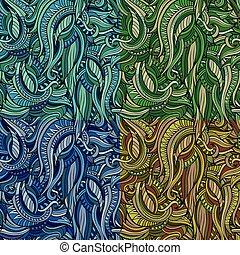 セット, 自然, パターン, 抽象的, seamless, ベクトル