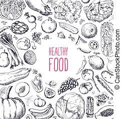セット, 自然, レストラン, 食物, メニュー, vegan, デザイン, 黒板, 型, 有機体である