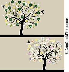 セット, 自然, 抽象的, シルエット, 木, シンボル