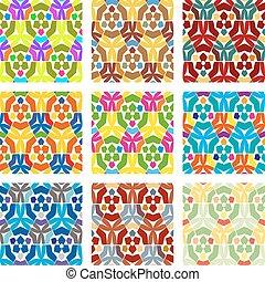 セット, 自然, 背景, seamless, パターン, 9, textured