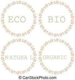 セット, 自然, eco, 有機体である, bio, labels.
