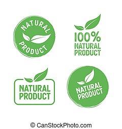 セット, 自然, product., スタンプ, ベクトル, leafs