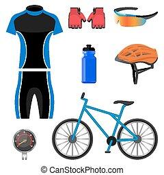 セット, 自転車に乗ること, アイコン, 隔離された, イラスト, バックグラウンド。, ベクトル, 白