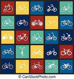 セット, 自転車の色, 現代, デザイン, 最新流行である, デザイン, 網アイコン, concept., 単純である, インターネット, 正方形, 印。, ウェブサイト, シンボル, 背景, グラフィック, モビール, ボタン, app., ベクトル, ∥あるいは∥
