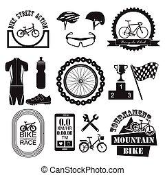 セット, 自転車, アイコン