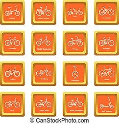 セット, 自転車, アイコン, ベクトル, 広場, オレンジ, タイプ