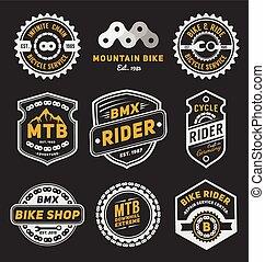 セット, 自転車, デザイン, テンプレート, ロゴ, バッジ