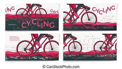 セット, 自転車, 印刷である, ベクトル, テンプレート, 旗