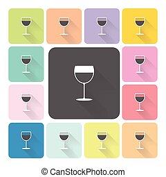 セット, 色, イラスト, ガラス, ベクトル, アイコン, ワイン