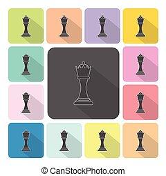 セット, 色, イラスト, ベクトル, チェス, アイコン