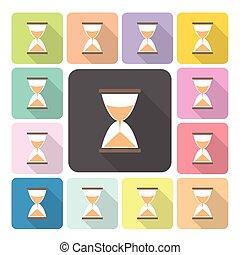 セット, 色, イラスト, ベクトル, 砂時計, アイコン