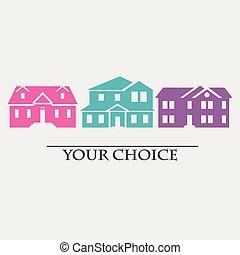 セット, 色, 家, イラスト, ベクトル, アイコン