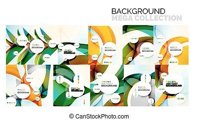 セット, 色, 抽象的, 形, 波状, 背景, 幾何学的